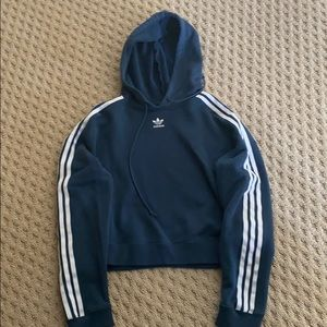 dark blue Adidas cropped hoodie